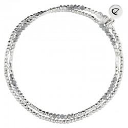 Bracelet multi-tours élastiqué Birdy argent - Perles & Perles de verre grises