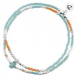 Bracelet multi-tours élastiqué Spring argent - Perles turquoise & orange