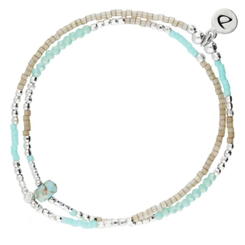 Bracelet multi-tours élastiqué Spring argent - Perles beiges & Turquoises