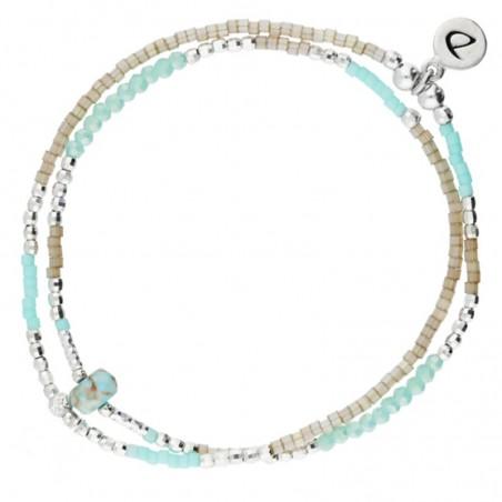 Bracelet multi-tours élastiqué Spring argent - Perles beige & Turquoise