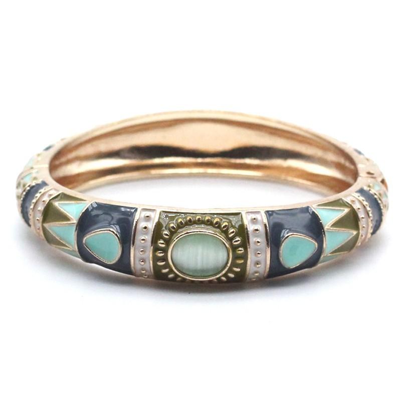 Bracelet Jonc Kaffir doré - Email turquoise kaki & Cabochon bleu