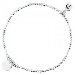 Bracelet élastique en argent PASTILLE - Enfilade de perles & médaille