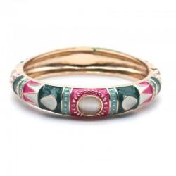 Bracelet Jonc Kaffir doré - Email rose turquoise vert & Cabochon blanc - ARGELOUSE