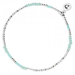 Bracelet élastique Imagin' -  Perles argent & Perles turquoises
