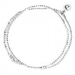 Bracelet Doriane - bracelet multi-tours élastique argent CHIPS - Perles & tubes diamantés