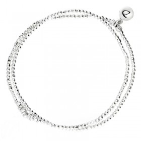 Bracelet multi-tours élastique argent CHIPS - Perles & tubes diamantés