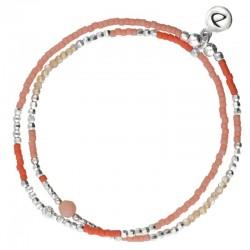 Bracelet multi-tours élastiqué SPRING argent - Perles orange & rose