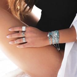 Bague anneau fin boule Argent & Pierre verte carrée 6 mm