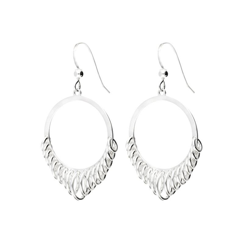 Boucles d'oreilles Doriane - créoles RONDES argent  - Tombé de petits anneaux