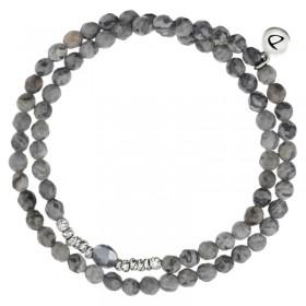 Bracelet multi-tours élastiqué - Agates grises Hématite & Perles Argent