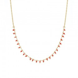 Collier court Or Telouet - Chaîne & Plastron de perles corail