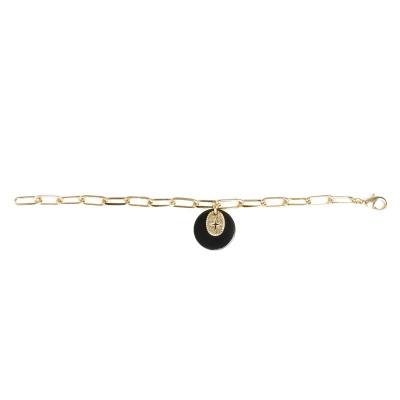 Bracelet L'Eclat Or - Chaîne Trombone & Médailles bleu marine dorée