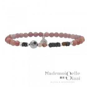 Bracelet Perles élastiqué Rose Argent - Rhodocrosites & Hématites