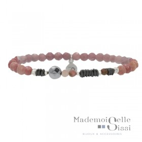 Bracelet Doriane - bracelet Perles élastiqué Rose Argent - Rhodocrosites & Hématites