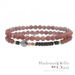 Bracelet multi-tours élastiqué Argent - Jaspes beiges & Hématites grises