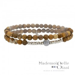 Bracelet multi-tours élastiqué Argent - Hématite &  Jaspes beige