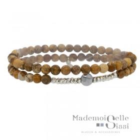 Bracelet Doriane - bracelet multi-tours élastiqué Argent - Hématite &  Jaspes beige