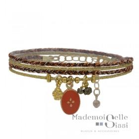 Bracelet multi-rangs Anita - Lurex orange doré & Médaille Etoile corail