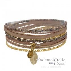 Bracelet BY GARANCE - multi-tours Mini Plumy - Liens Rose doré Plume & pierre
