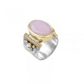 Bague Canyon - Bague large ethnique argent laiton doré Opale rose & Perles blanches
