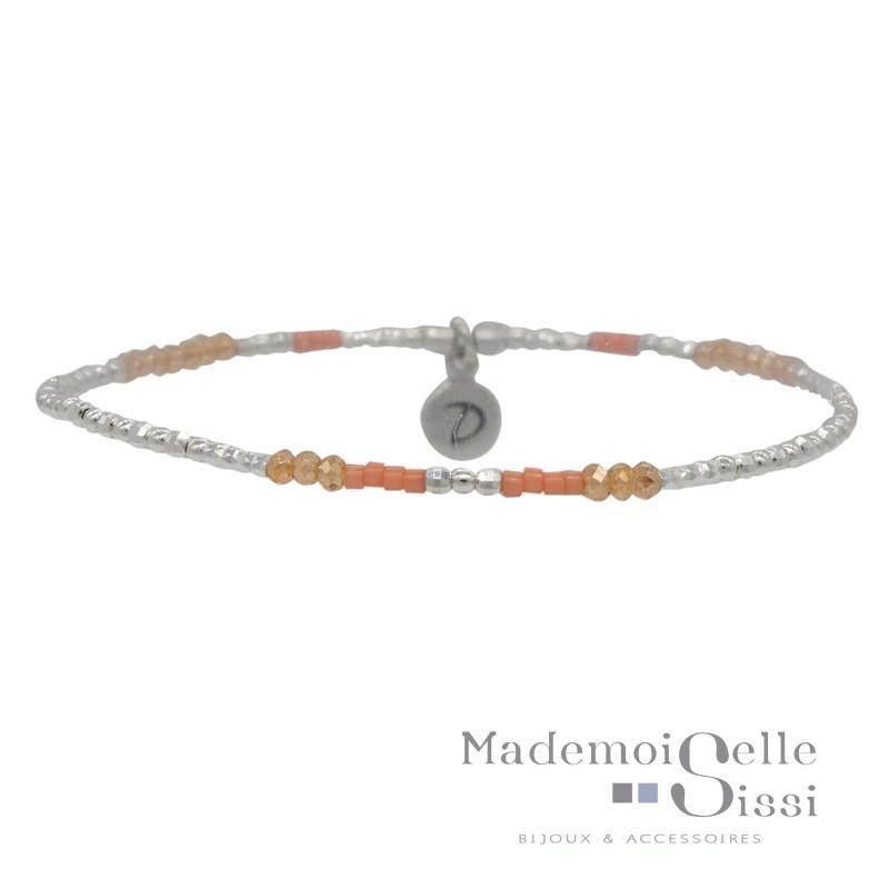 Bracelet élastiqué TRENDY argent - Perles orange & corail