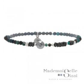 Bracelet Perles élastiqué Argent - Jaspes & Hématites noir turquoise