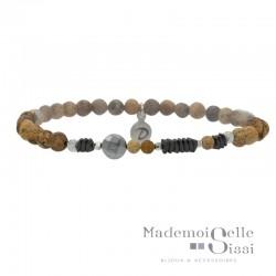 Bracelet Perles élastiqué Argent - Hématites & Jaspes gris beige