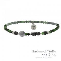 Bracelet Perles élastiqué Argent - Jaspes & Hématites noir vert