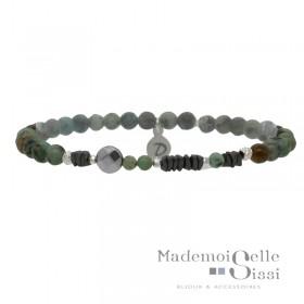 Bracelet Perles élastiqué Argent - Hématites & Turquoises africaines