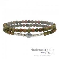 Bracelet multi-tours élastiqué Perles Argent Hématite &  Jaspes vertes