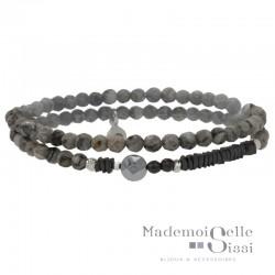 Bracelet multi-tours élastiqué Perles Argent Hématite &  Agates grises