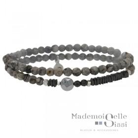 Bracelet Doriane - bracelet multi-tours élastiqué Perles Argent Hématite &  Agates grises
