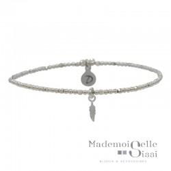 Bracelet élastique - Perles en argent & Pendentif Plume