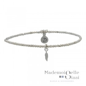 Bracelet Doriane - bracelet élastique - Perles en argent & Pendentif Plume