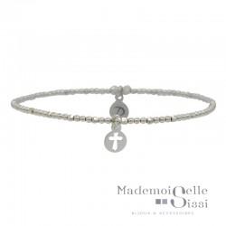 Bracelet élastique en Argent - Enfilade de perles & Breloque Croix