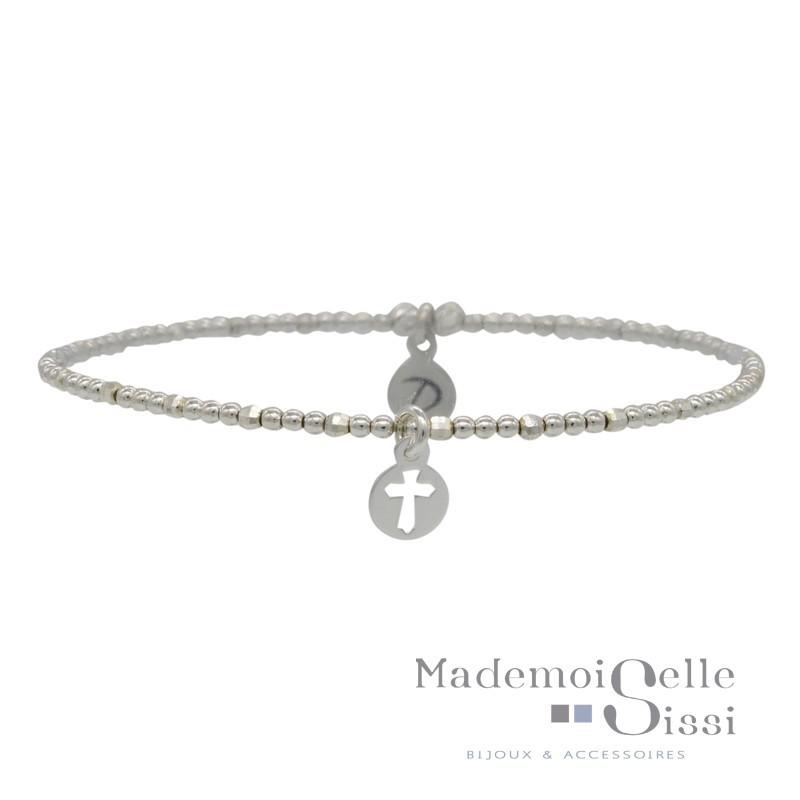 Bracelet Doriane - bracelet élastique en Argent - Enfilade de perles & Breloque Croix