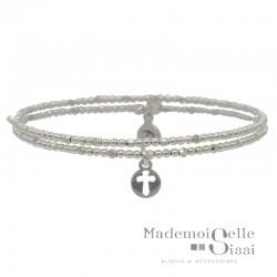 Bracelet multi-tours élastique en Argent - Enfilade de perles & Breloque Croix