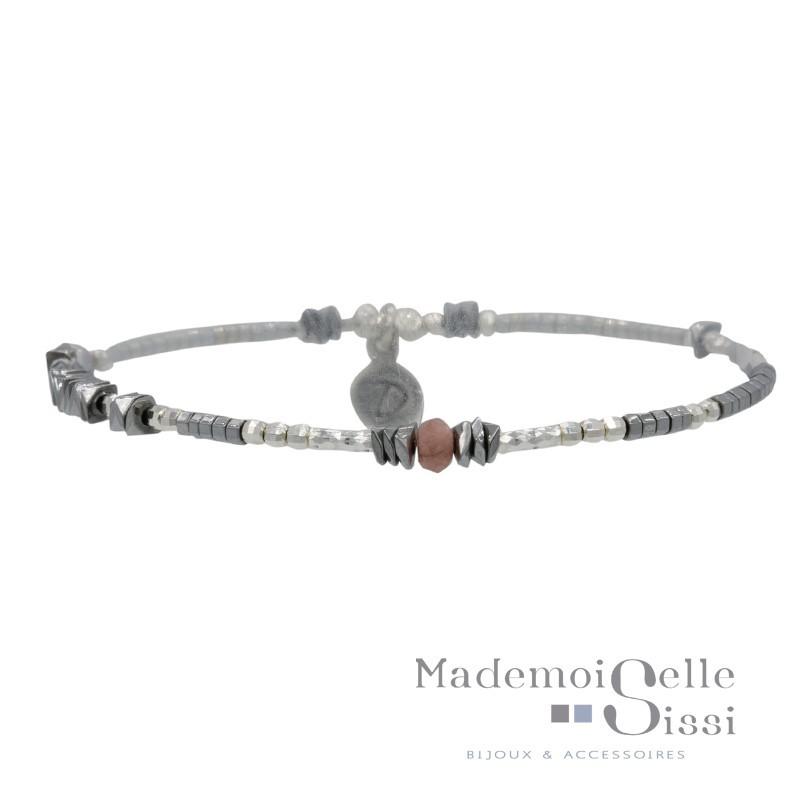 Bracelet élastique BASIC gris argent - Hématites & Perle rose