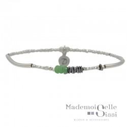 Bracelet élastique CURVE gris argent - Hématites & Perles chips vertes