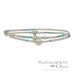 Bracelet multi-tours élastiqué argent - Perles beige turquoise & Perle blanche