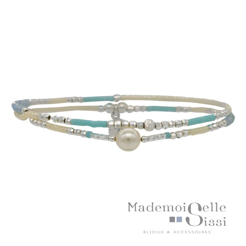 Bracelet Doriane - bracelet multi-tours élastiqué argent - Perles beige turquoise & Perle blanche