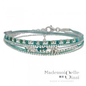 Bracelet multi-tours MUSE argent - Cordons Perles turquoise & gris