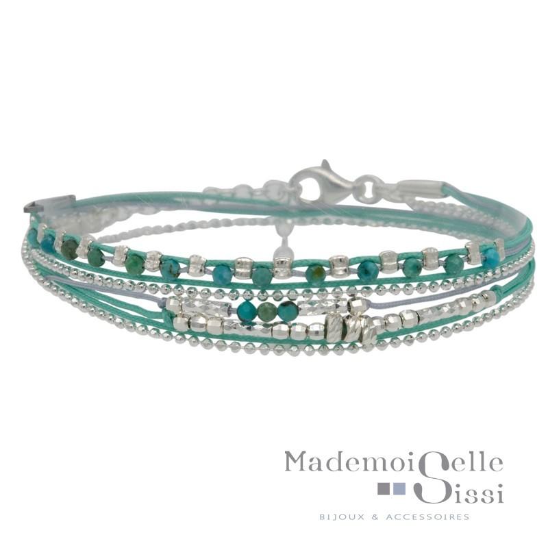 Bracelet Doriane - bracelet multi-tours MUSE argent - Cordons Perles turquoise & gris