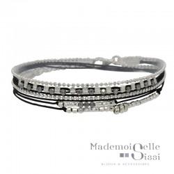 Bracelet multi-tours MUSE argent - Cordons & Perles gris