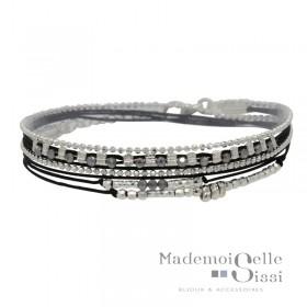 Bracelet Doriane - bracelet multi-tours MUSE argent - Cordons & Perles gris