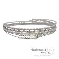 Bracelet multi-tours MUSE argent - Cordons & Perles gris clair