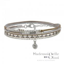 Bracelet multi-tours MUSE argent - Cordons & Perles gris beige