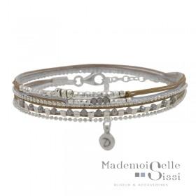 Bracelet Doriane - bracelet multi-tours MUSE argent - Cordons & Perles gris beige