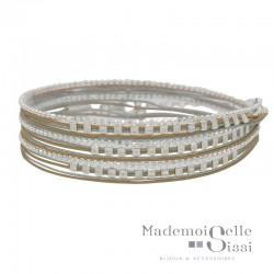Bracelet multi-tours chaîne argent - Cordons beige et gris & Perles carrées