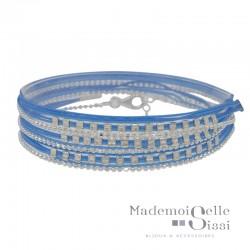 Bracelet multi-tours chaîne argent - Cordons bleu & Perles carrées
